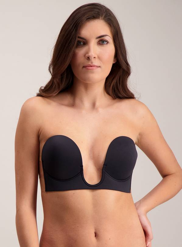 Black Stick On Strapless U Plunge Bra - Size B