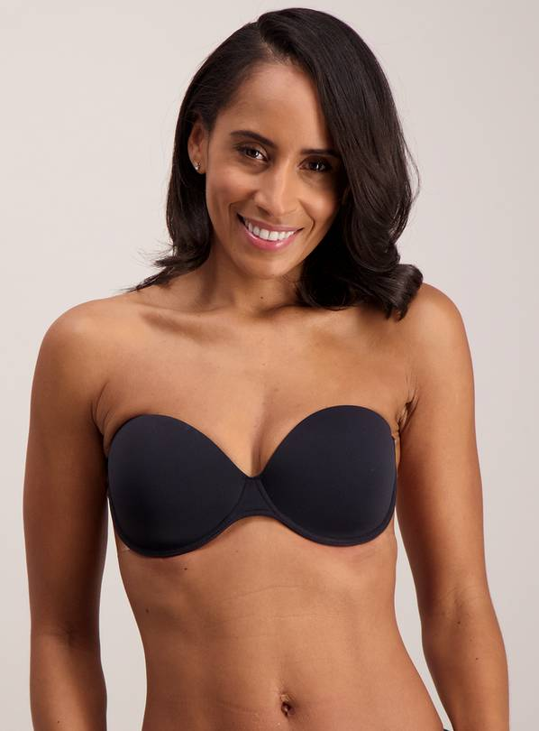 PERFECTION Black Stick On Strapless Winged Bra - Size A