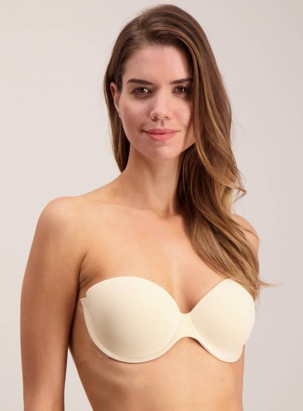 PERFECTION Beige Nude Stick On Strapless Winged Bra - Size D