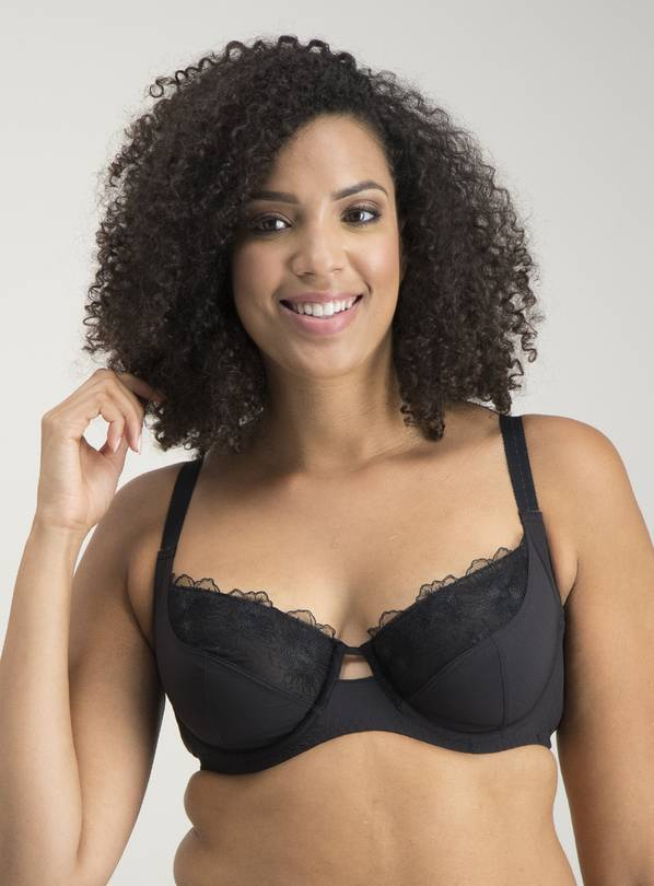 DD+ Black Embroidery Full Cup Bra - 32GG