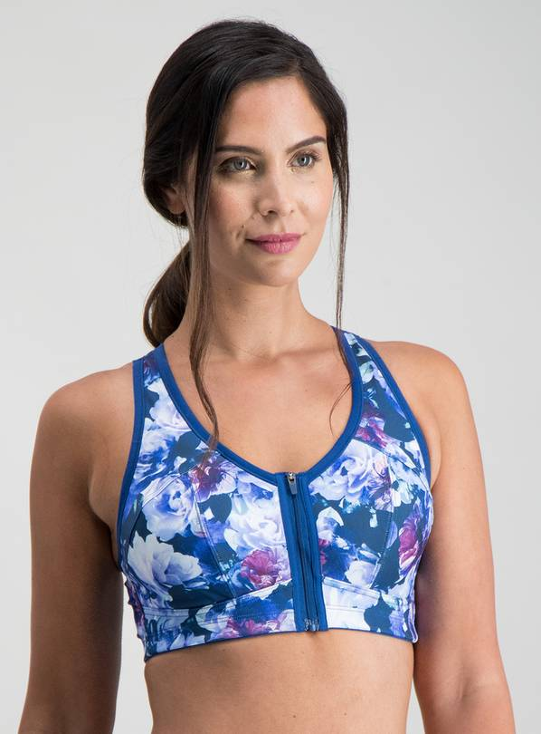 Active Blue Floral Print high Impact Sports Bra - 36B