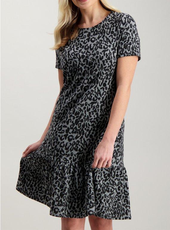 4cd4650df8 Buy Grey   Black Brushed Animal Print Drop Hem Dress - 12