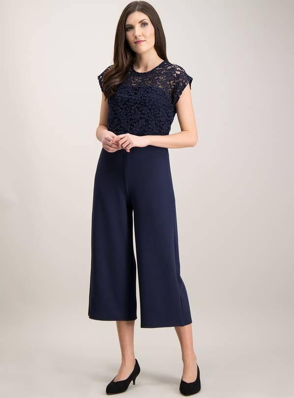 663b23782845 Buy Online Exclusive Navy Lace Culotte Jumpsuit - 6