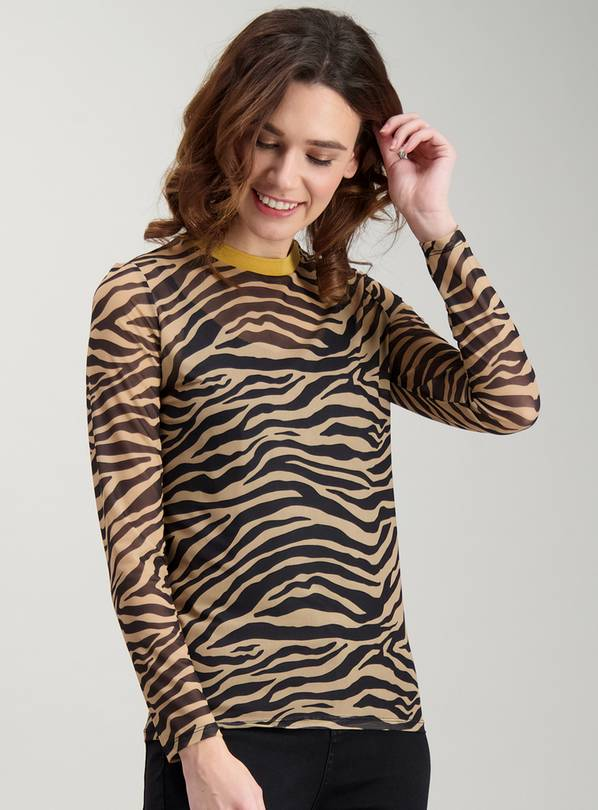 8336277cc83c Buy Animal Print Mesh Long Sleeve Top - 24 | Tops and tunics | Argos