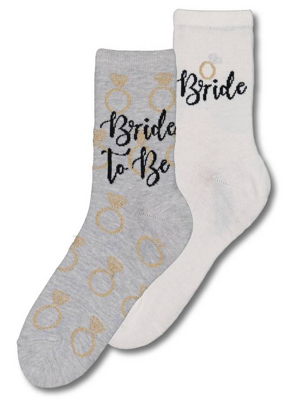 Grey & White Team Bride Socks 2 Pack - 4-8
