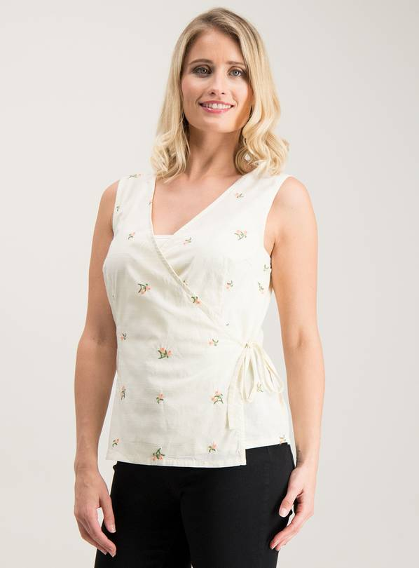 Yellow Floral Embroidered Wrap Top - 26