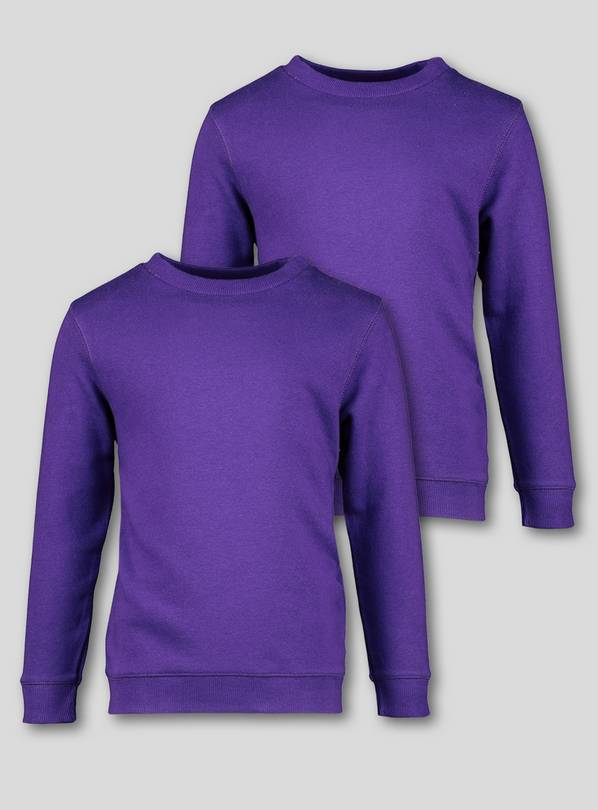 Bright Purple Crew Neck Sweatshirts 2 pack - 8 years