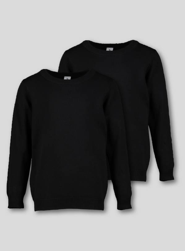 Black Crew Neck Jumpers 2 Pack - 10 years