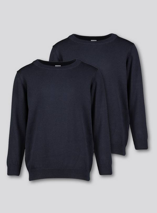 Navy Crew Neck Jumpers 2 Pack - 8 years