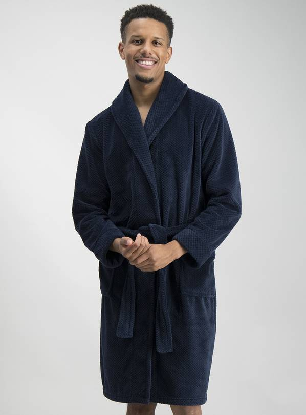 Navy Blue Textured Dressing Gown - S