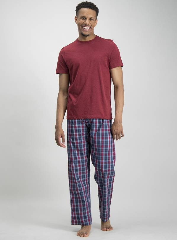 Dark Red & Navy Check Pyjamas - XXXL