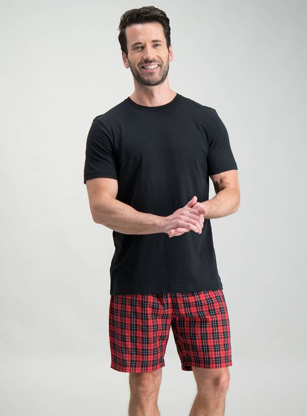 Online Exclusive Red & Black Check Short Pyjamas - L