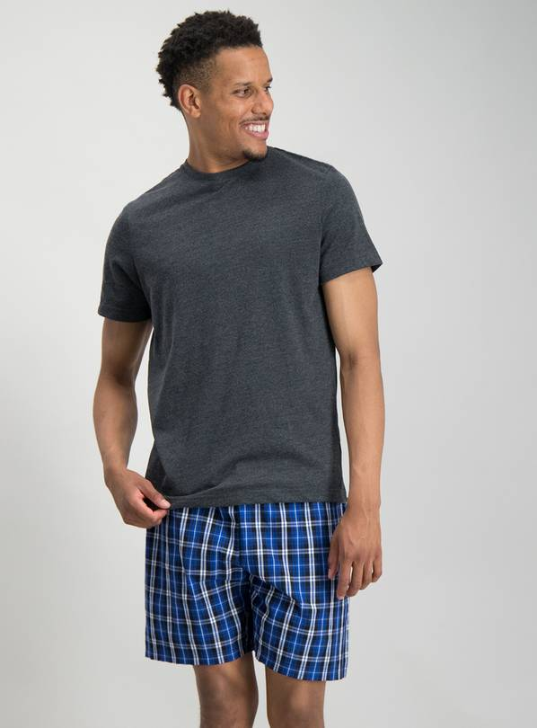 Charcoal & Cobalt Blue Check Shortie Pyjamas - L