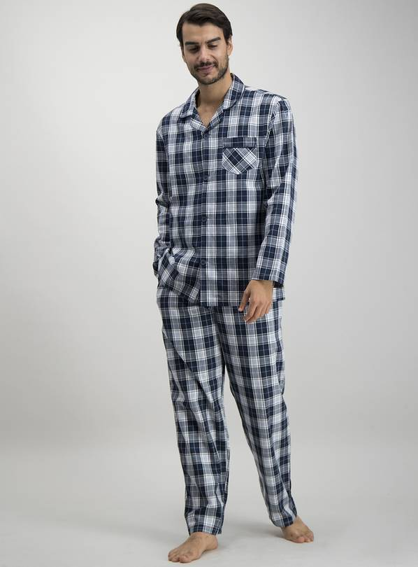 Navy & White Check Traditional Pyjamas - L