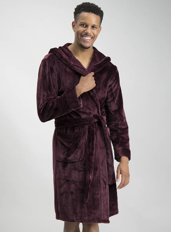 Burgundy Super Soft Hooded Dressing Gown - M