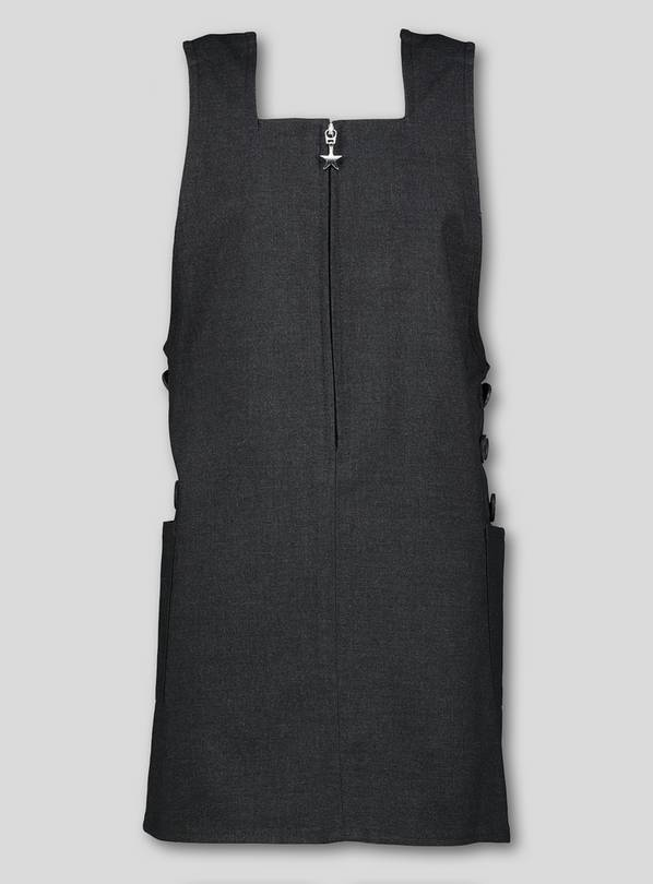 Grey Square Neck Pinafore - 6 years