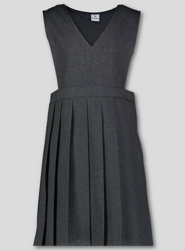 Grey V-Neck Pleated Pinafore Dress - 7 years
