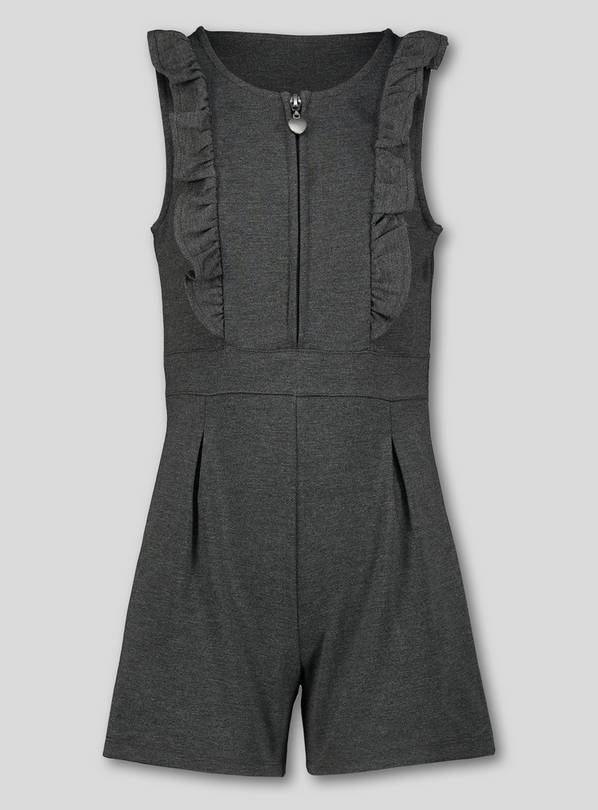 Grey Jersey Ruffle Playsuit - 10 years