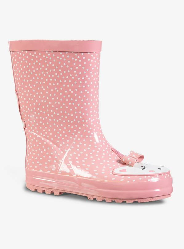 Pink & White Spotty Unicorn Wellies - 8 Infant
