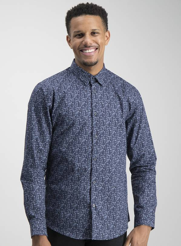 Navy Floral Print Slim Fit Shirt - M