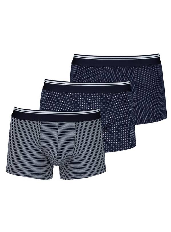 Navy & White Geometric Print Hipsters 3 Pack - L