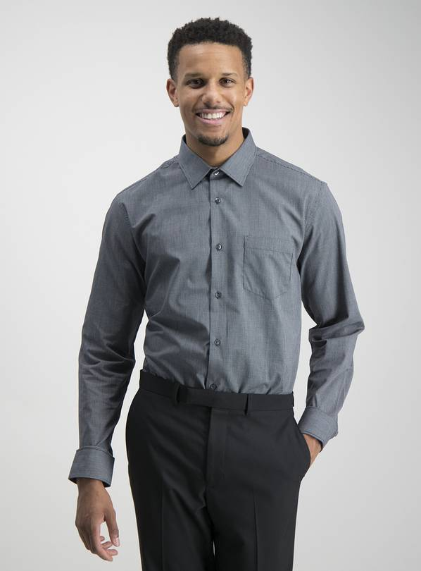 Black Grid Check & Gingham Tailored Fit Shirts 2 Pack - 17.5