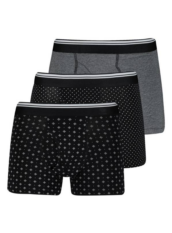 Monochrome Geometric Print Trunks 3 Pack - L