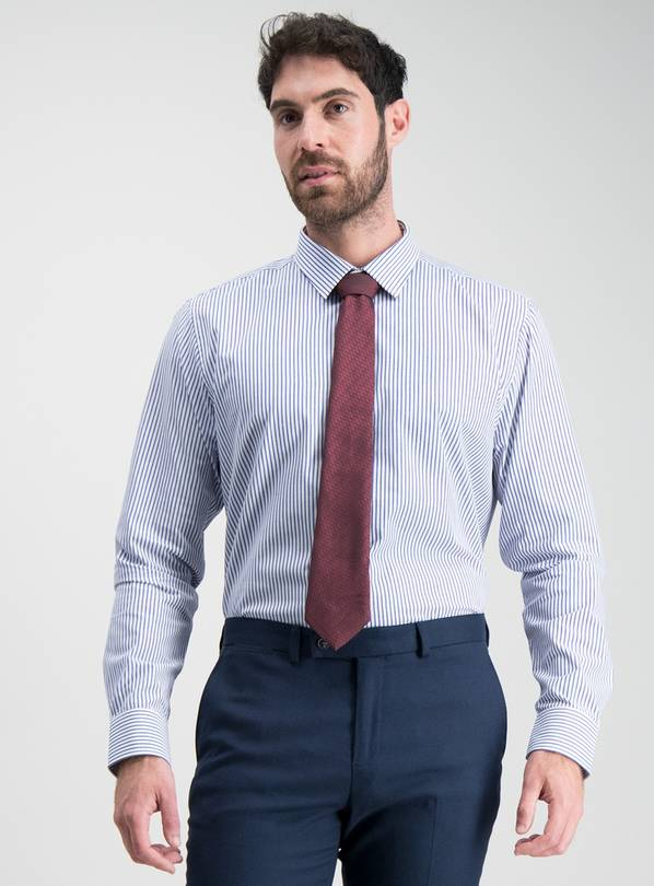 Butcher Stripe Tailored Fit Shirt & Tie Set - 15.5