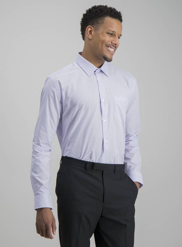Blue & Lilac Stripe Oxford Tailored Fit Shirts 2 Pack - 18.5