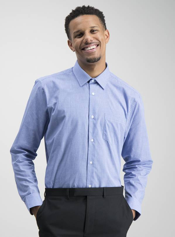 Blue Stripe & Gingham Tailored Fit Shirts 2 Pack - 16