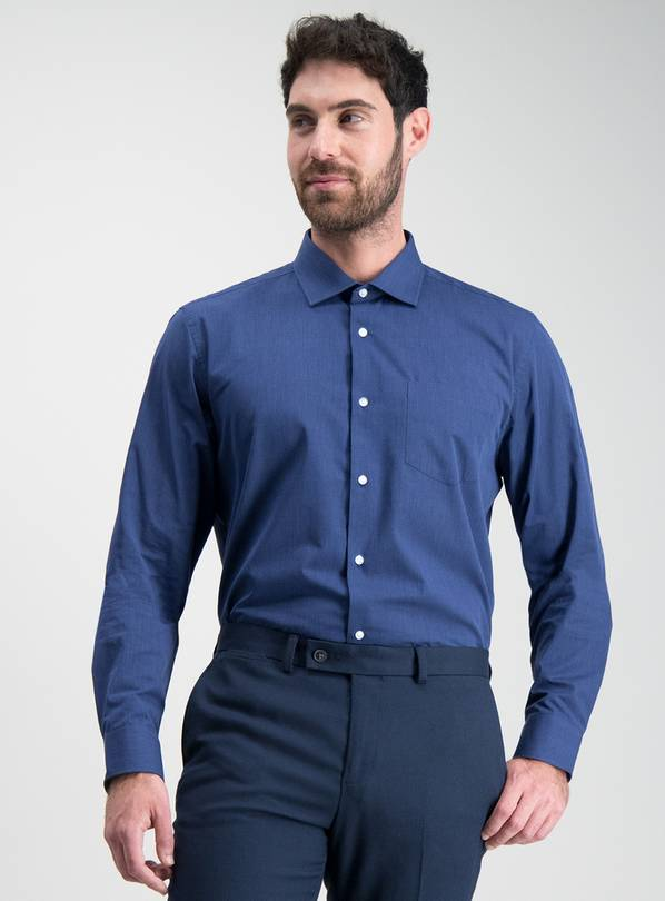Navy & Blue Tailored Fit Easy Iron Shirts 2 Pack - 17