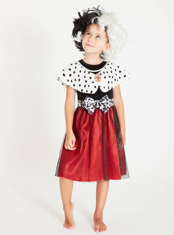 Disney 101 Dalmatians Cruella Dress & Wig - 5-6 years