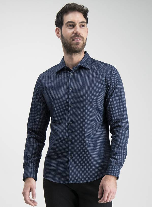 Online Exclusive Tailored Fit Navy Printed Shirt - S