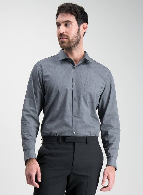Online Exclusive Black Slim Fit Easy Iron Shirts 2 Pack - 14