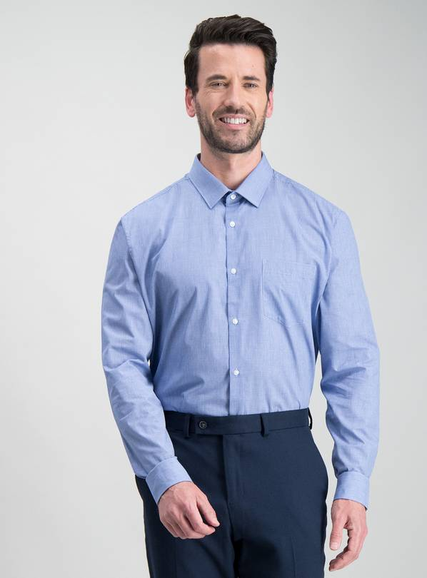 Blue Slim Fit Long Sleeved Shirts 2 Pack - 14