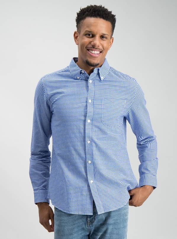 Navy Gingham Regular Fit Oxford Shirt - M