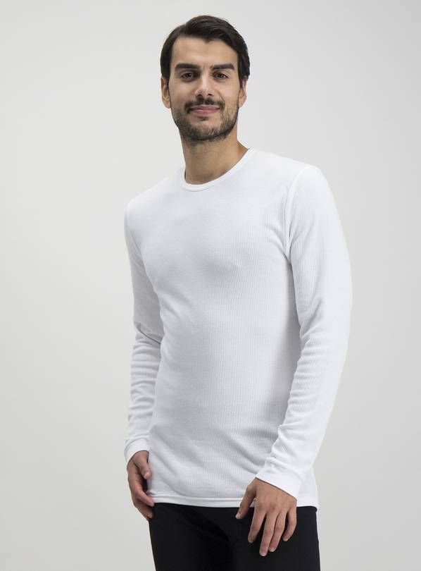 White Thermal Long Sleeve T-Shirt - XXL