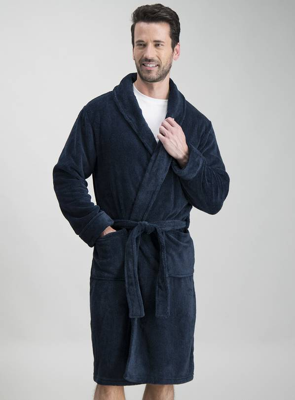 Navy Fleece Soft Dressing Gown - L