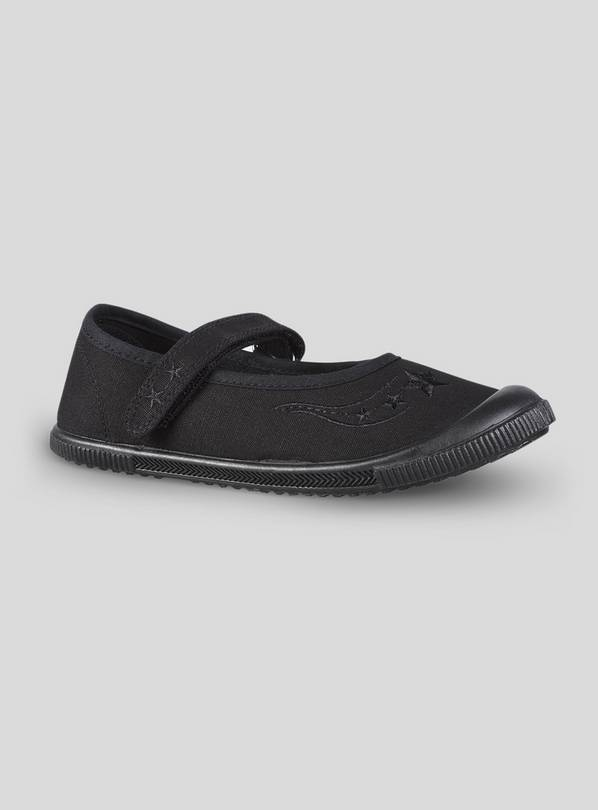 Black Mary Jane School Plimsolls - 9 Infant