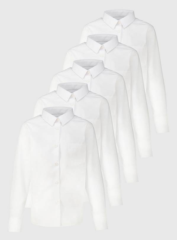White Non Iron School Shirts 5 Pack - 10 years