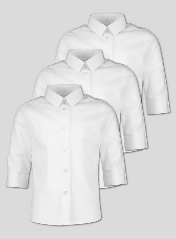 White 3/4 Length School Blouse 3 Pack - 4 years