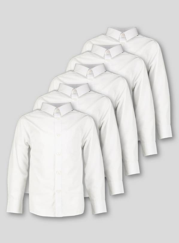 White Long Sleeve Regular Fit Shirt 5 Pack - 11 years