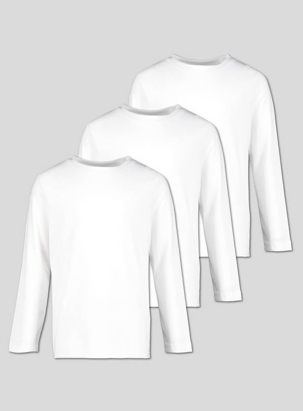 White Unisex Crew Neck Long Sleeve T-Shirt - 12 years
