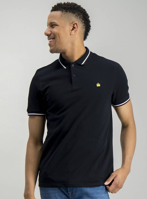 Black Tipped Short Sleeve Cotton Polo - M