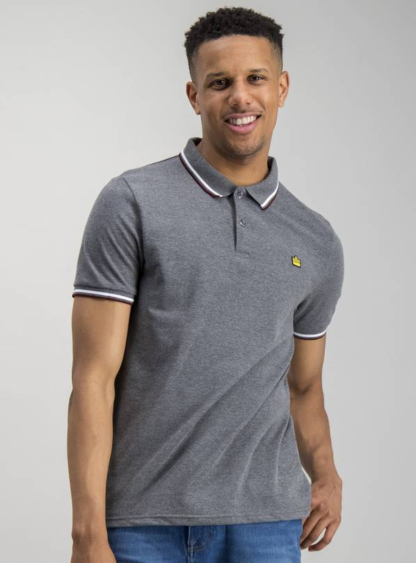 ADMIRAL Grey Tipped Short Sleeve Cotton Polo - L