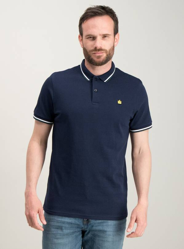 Navy Tipped Short Sleeve Polo - M