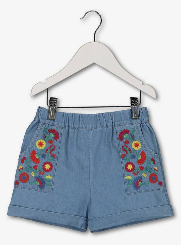 75881e1d7b Buy Blue Denim Floral Embroidery Shorts - 3-4 years | Skirts and ...