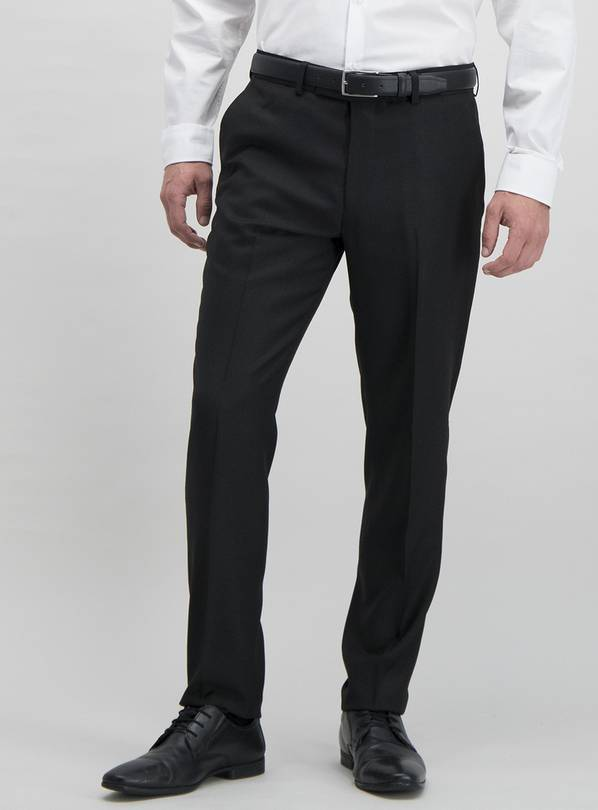 Black Textured Slim Fit Tuxedo Trousers - W44 L33