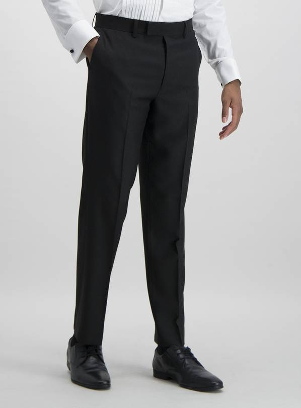 Black Tailored Fit Tux Suit Trousers With Stretch - W38 L35