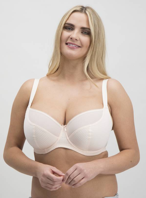 DD+ Pink & Grey Jacquard Stripe Full Cup Bra 2 Pack - 42G